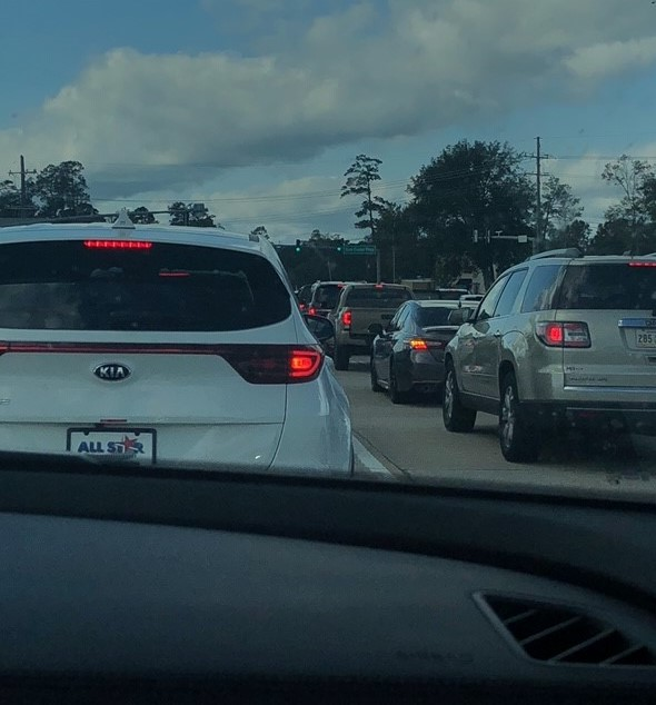 I freaked my daughter out trying to take a picture of traffic, so she took this picture for me.